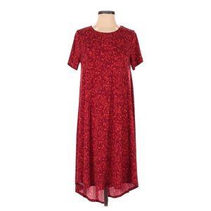 LulaRoe Floral Print Pocket T-Shirt Dress Red XS